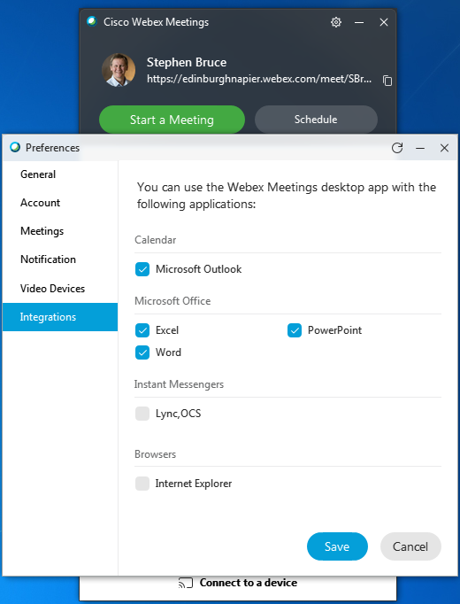 How do I schedule Webex meetings from Microsoft Outlook and Office