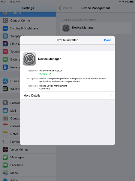 How do I install AirWatch MDM on my iOS device?