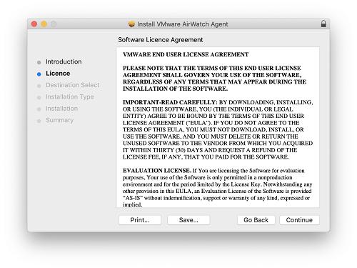 How do I install AirWatch MDM on my macOS Device?